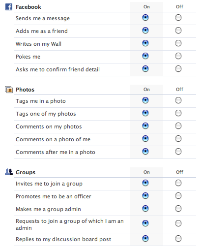 FaceBook's communication preferences