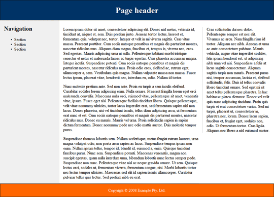 Screenshot showing a three column layout with header and footer.