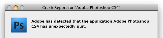 Crash Report for Adobe Photoshop CS4