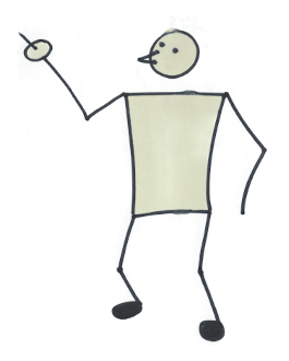 Sketch of a man pointing