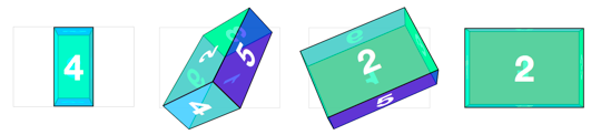 3D CSS box object rotating