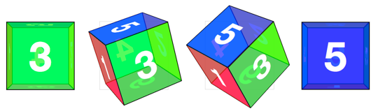 CSS 3D cube object changing sides