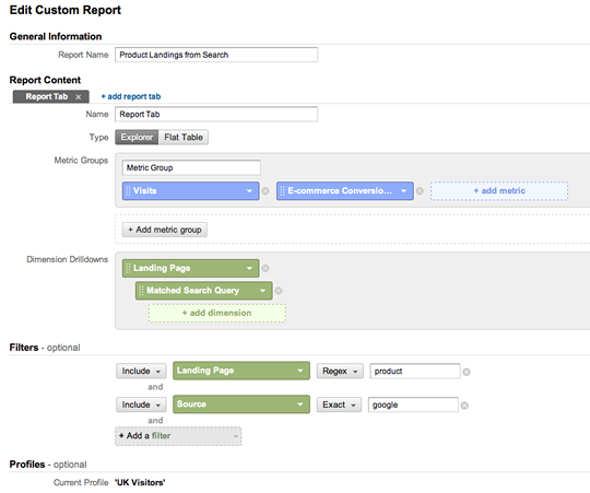 Screenshot of example custom report setup.