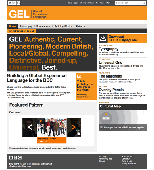 A screenshot of the BBC's Global Experience Language website