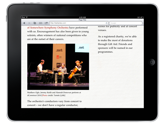 Mock-up of the demo page on an iPad in landscape orientation.