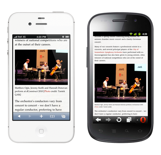 Mock-ups of the demo page on white iPhone 4 (left) and Samsung Nexus S (right).