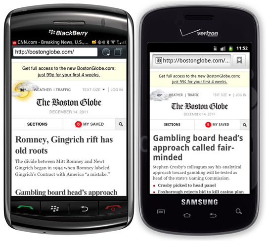 Screenshots of the Boston Globe website on Android and Blackberry.