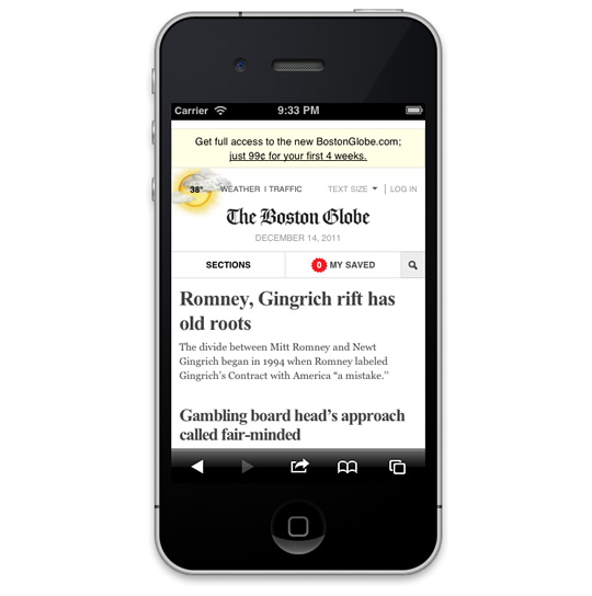 Screenshot of the Boston Globe website on the iPhone, without an address bar.