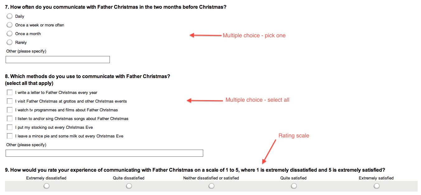 Annotated screenshot of Emma's Christmas survey