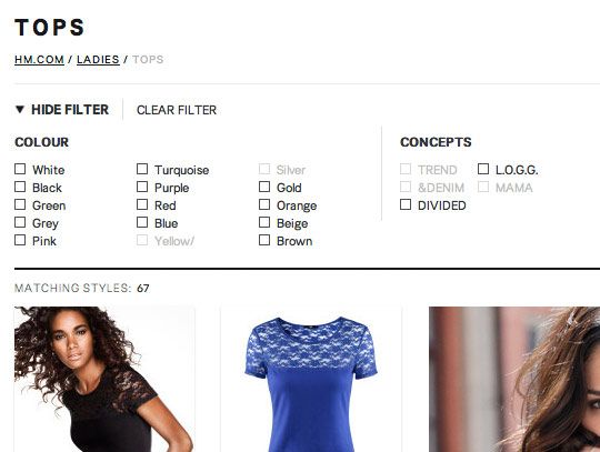 A screenshot of the colour search filter on the H&M site.