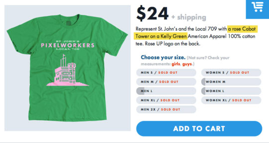 A screenshot of a T-shirt order screen on the Pixelworkers site.