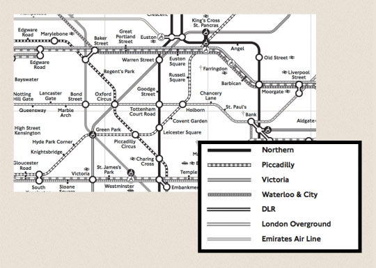 The London underground map in black and white.