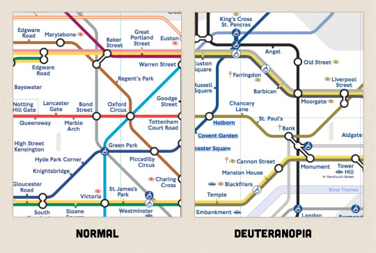 A picture of the London underground map contrasted with how it's seen by someone with deuteranopia.