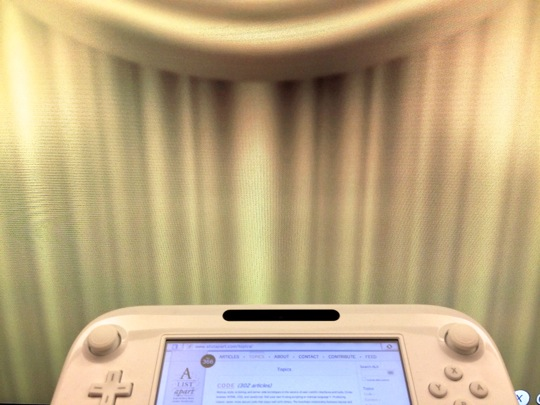 A photo of the gamepad being used, with curtains on the TV screen hiding the site