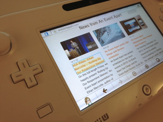 A photo of the focus styles on the An Event Apart website, displayed on the Wii U's gamepad