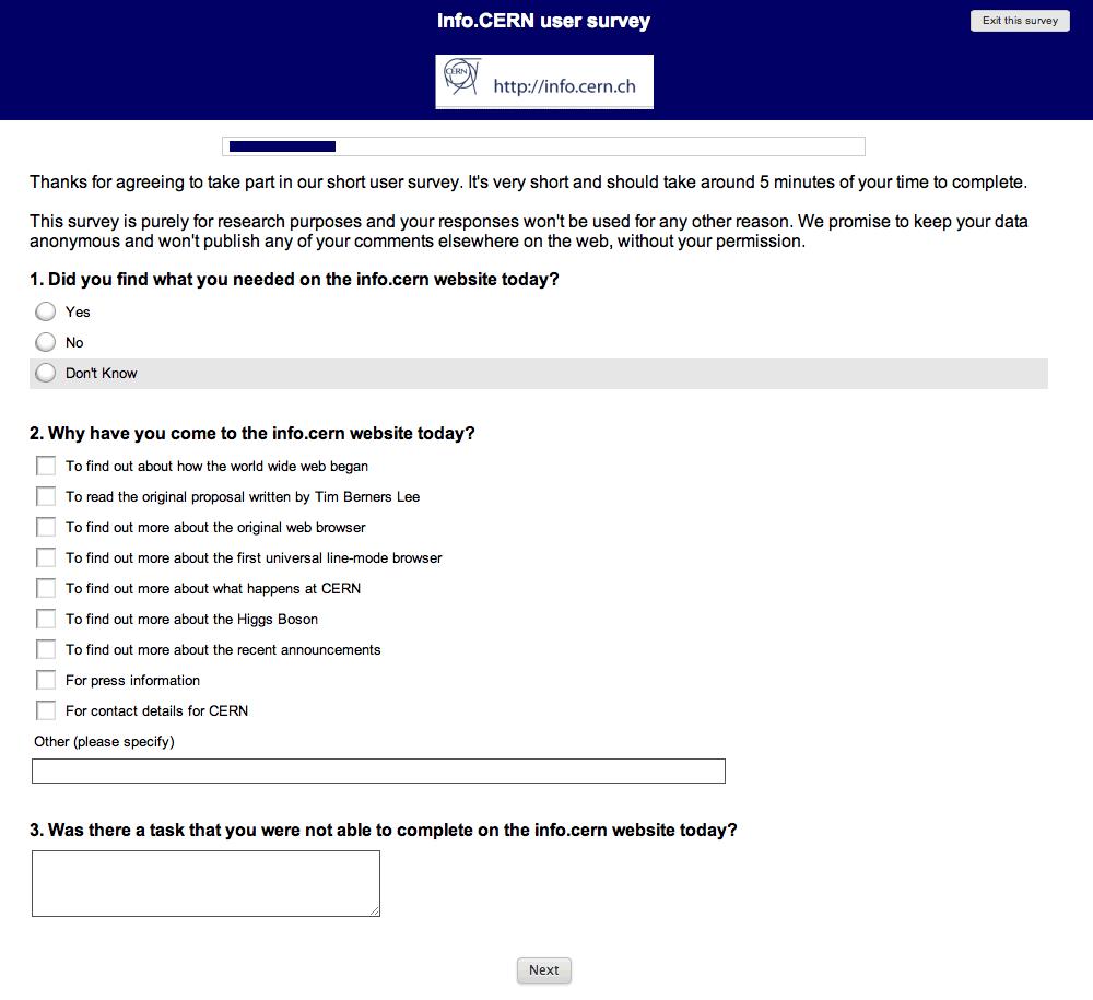 Screenshot of info.CERN survey