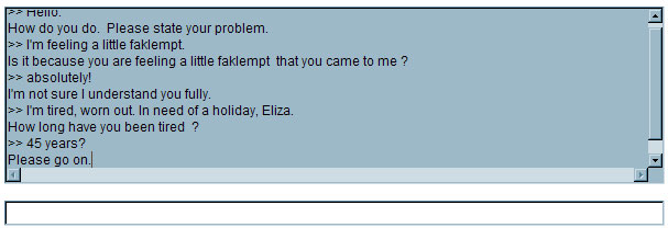 Chat log between a human and ELIZA