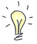 Sketch of a glowing lightbulb