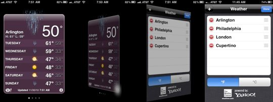 iPhone Weather App 3D flip transition