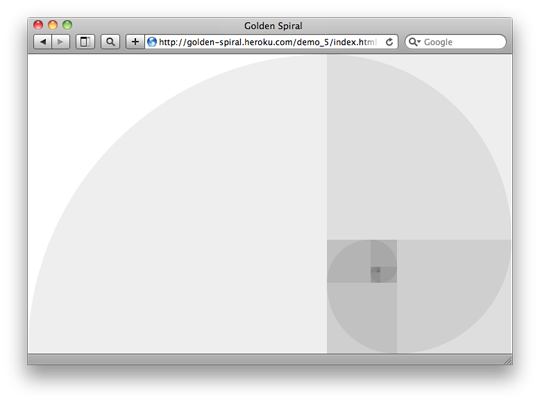 A screenshot showing the golden spiral using the full available space