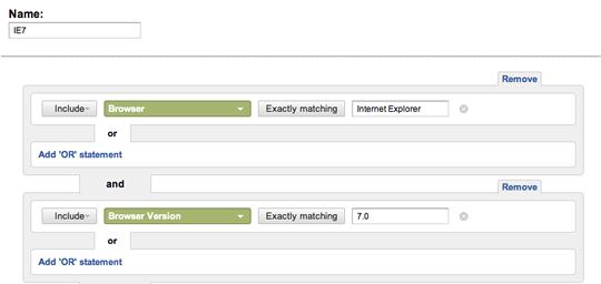 Screenshot of IE7 segment create screen.