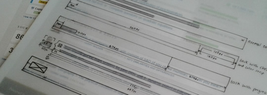 Photo of some annotations on a print-out of a design
