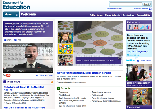 Screenshot of the UK government's Department for Education website.