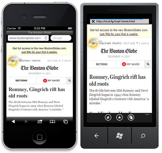 Screenshots of the Boston Globe website on an iPhone and a Windows 7 phone.