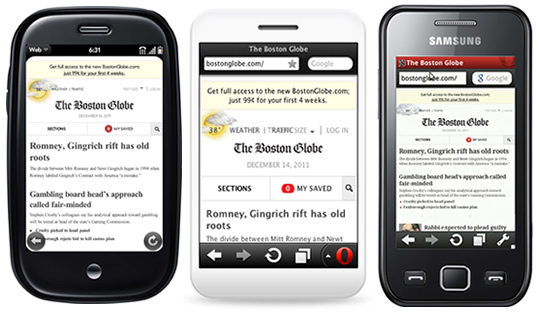 Screenshots of the Boston Globe website on Opera Mobile, Opera Mini and WebOS.