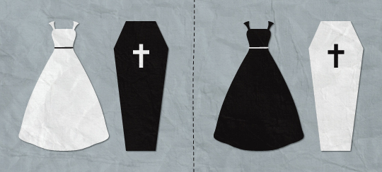 Illustration of a white wedding dress and a black coffin, juxtaposed with a black wedding dress and a white coffin.
