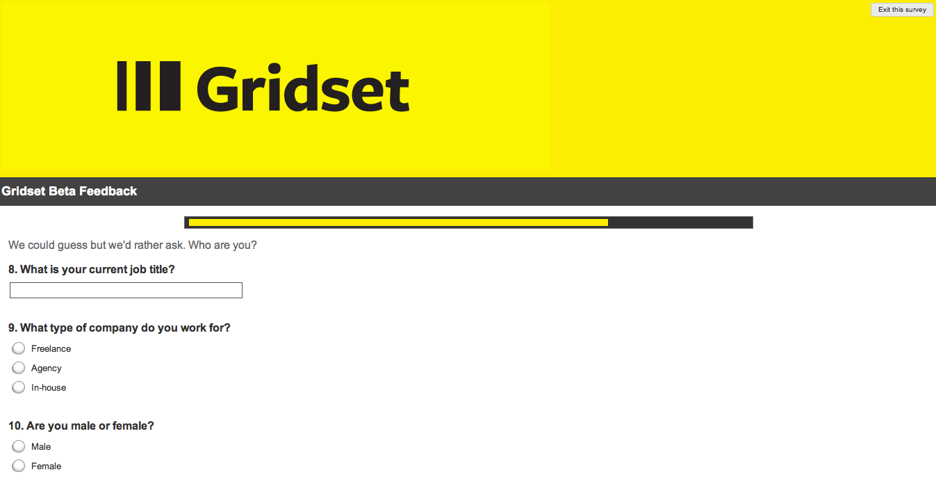 Screenshot of the Gridset survey