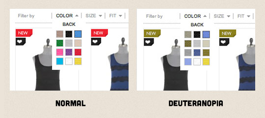 A screenshot of a colour search filter on a clothing website.