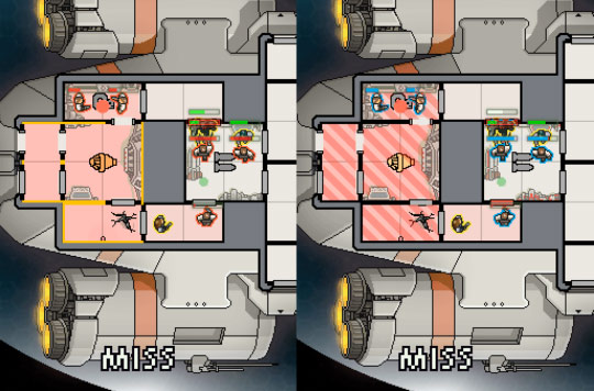 Screenshots of a game in default mode and in colour-blind mode.