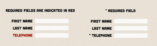 A screenshot of a form where the required field's label text is red, next to the same form but with a symbol alongside the required field.