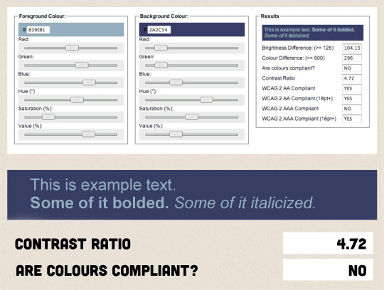 A screenshot of Jonathon Snook's colour code tool.