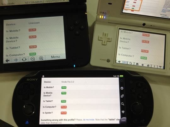 A photo of handheld consoles that are saying they are different types of devices