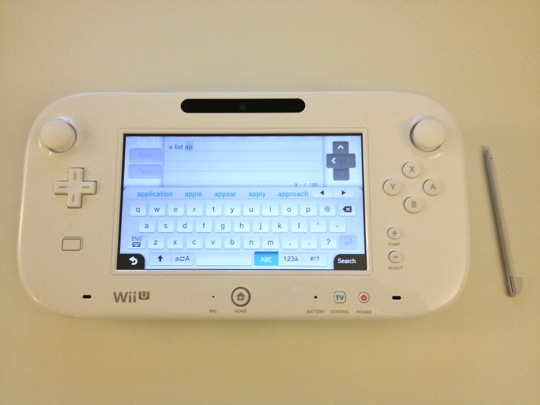 A photo of the Wii U's gamepad's keyboard