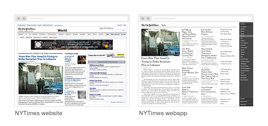 NYTimes website vs. NYTimes web app