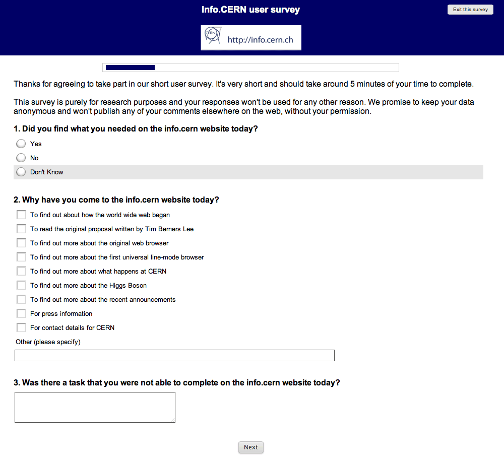 Screenshot of info.CERN survey