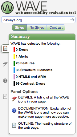screenshot of 24 ways Wave results - 0 errors
