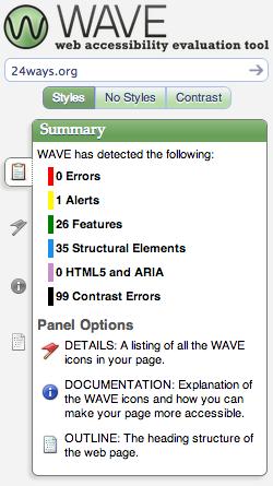 screenshot of 24 ways Wave results - 0 errors