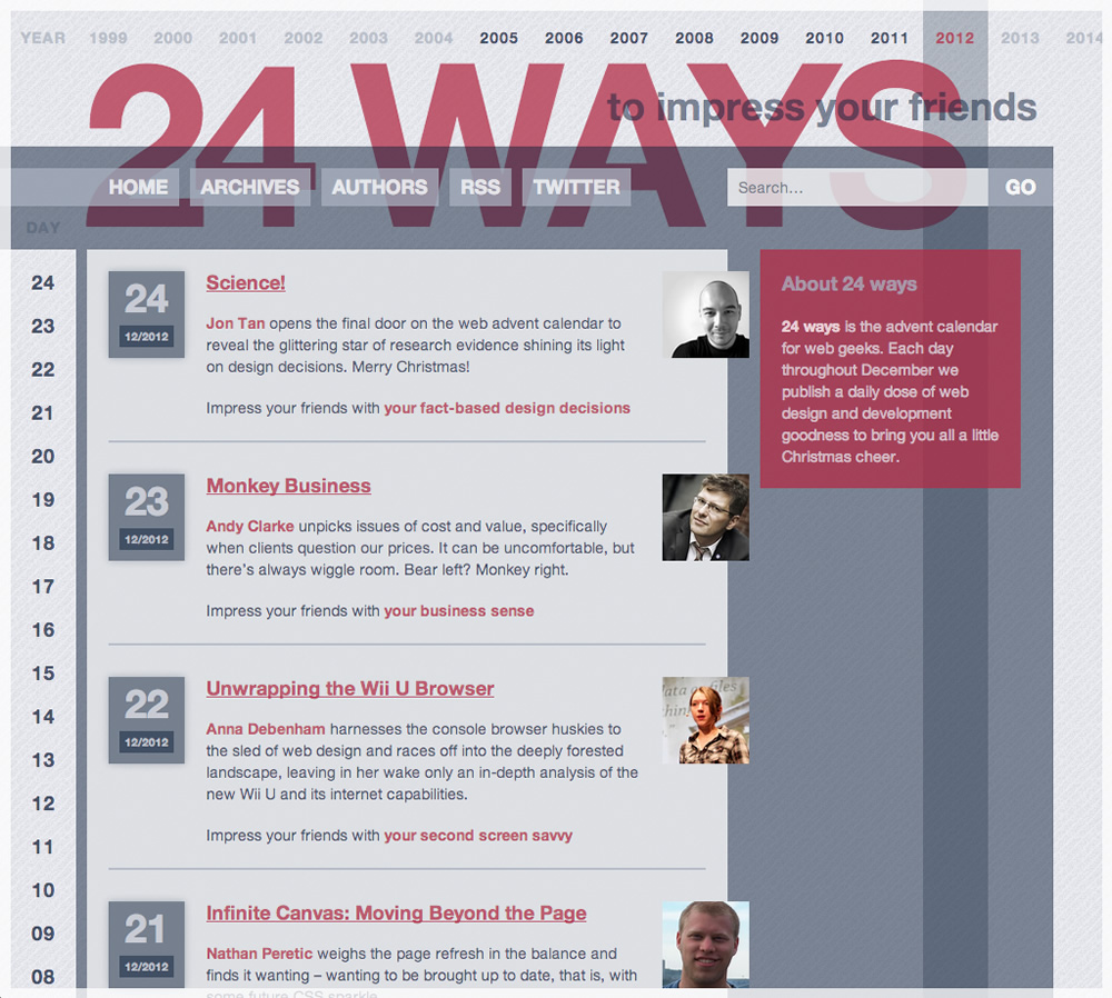 screenshot of 24 ways website