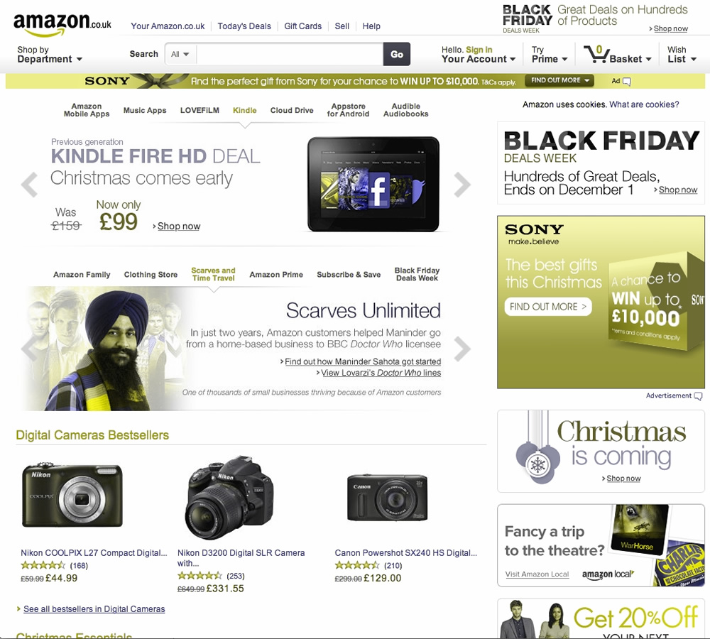 Screenshot of Amazon through a Color Oracle filter