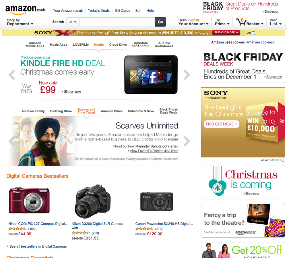 Screenshot of Amazon website