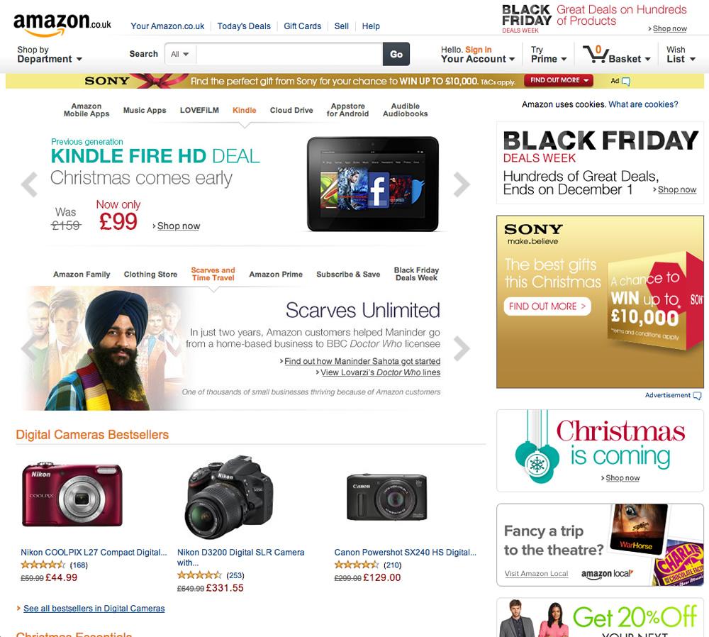 Screenshot of Amazon website