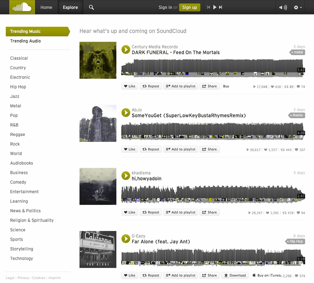 screenshot of SoundCloud through a Color Oracle filter