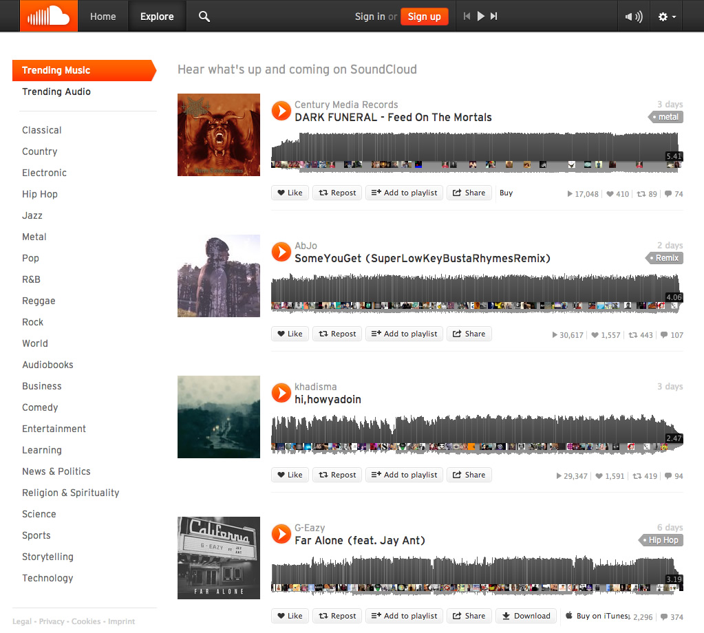 screenshot of SoundCloud website