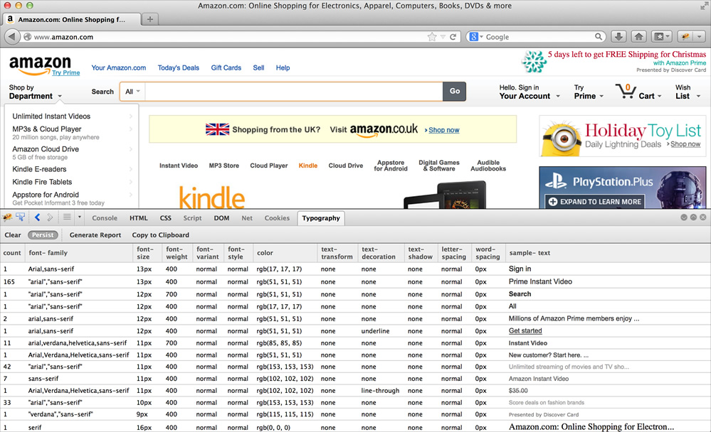 Screenshot of Type-o-matic being used on amazon.com