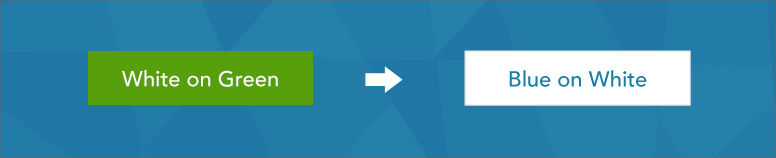 A green button with white text, and a white button with blue text.