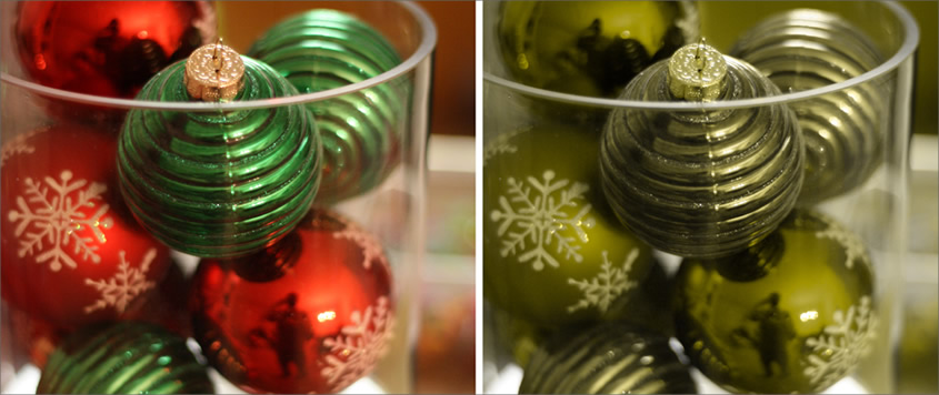 Side-by-side comparison of how red and green Christmas baubles could appear to a person affected by protanopia-type colour blindness.